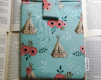 Pink Flowers and Teepees Book Love Book Sleeve