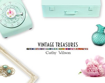Styled Mock Up | Vintage Treasures | Retro Finds | Web Blog Printed Cover Photo Shop Logo | Instant Download