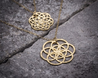 Geometric necklace, gold necklace, tree of life necklace, flower of life necklace, mandala necklace, everyday necklace, gift for her.