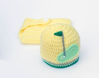 BABY BOY CLOTHES Baby Girl Clothes, Baby Golf Clothes Crochet Baby Golf, Baby Golf Hat Crochet Golf Beanie Knit Hat Boy or Girl Baby Golfer