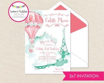 Paris Birthday Invitation, Hot Air Balloon Birthday, Paris Printables, Hot Air Balloon Birthday Decorations, Lauren Haddox Designs