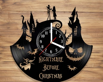 The Nightmare Before Christmas Vinyl Record Wall Clock Simply Meant To Be Art Decorate Home Style UNIQUE GIFT idea for Him Her (12 inches)