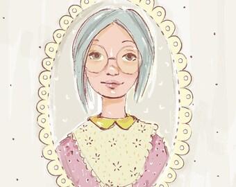 Printable Art Print - Sketch - Girl with glasses