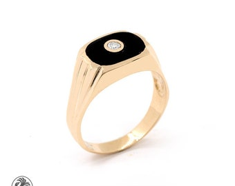 Onyx Men's Ring, Unisex Ring, Men's Ring, Gentleman's Onyx ring, Black Stone Ring, Diamond Onyx Ring, Sleek Onyx Ring With Diamond | MR01208