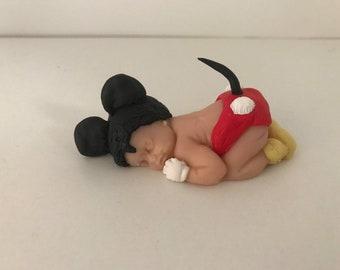 "OOAK 2.5"" Mickey Mouse Sleeping Baby Polymer Clay Cake Topper Keepsake Figurine Gift"