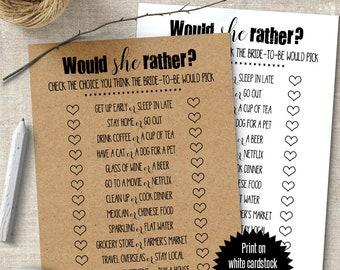 Would She Rather, Bridal Shower game, printable shower games, Country and Rustic games G101