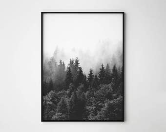 Forest print, Forest photography, Forest poster, mist forest, scandinavian, forest minimalist wall art, foggy forest, forest landscape print