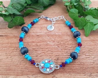 Boho treasures bracelet - Red blue and turquoise beaded bracelet with enamel centerpiece