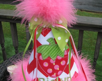 strawberry  birthday hat, smash cake hat, party hat, 1st birthday party hat, 2nd birthday party hat,strawberry shortcake party
