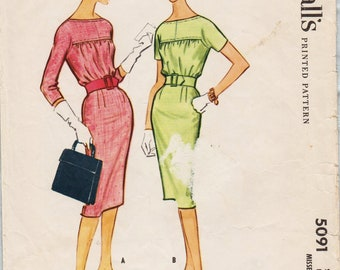 McCalls 5091 / Vintage 1950s Sewing Pattern / Dress / Size 16 Bust 36