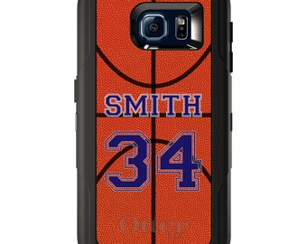 Custom OtterBox Defender for Galaxy S5 S6 S7 S8 S8+ S9 S9+ Note 5 8 Any Color / Font - Basketball Purple Number Name