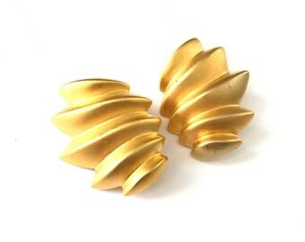 Vintage Matte Gold Plated Sculptural Folded Clip Earrings