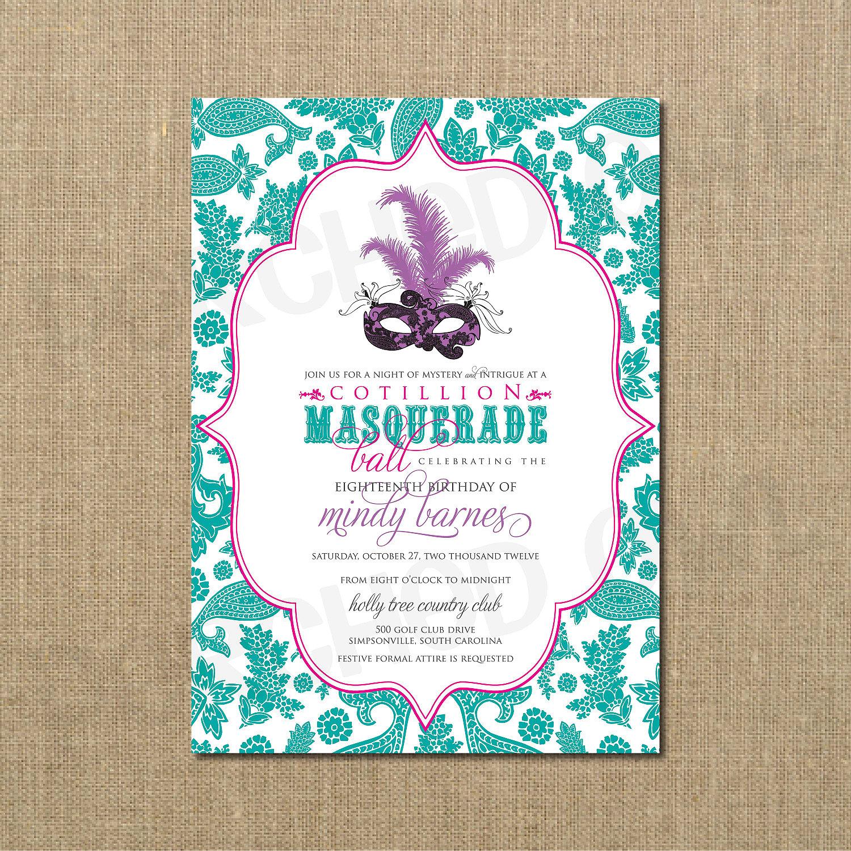 Cotillion Masquerade Ball Birthday Invitation Masquerade