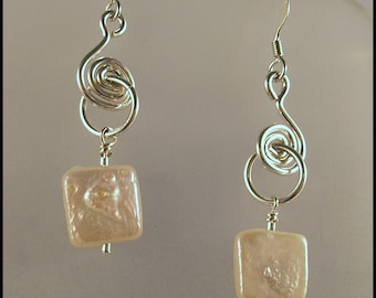 FREE SHIPPING - Freshwater Pearls & Sterling Silver Dangle Earrings