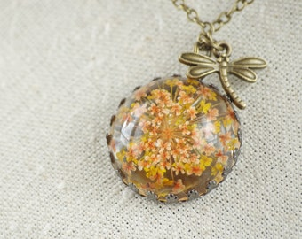 Real Flower Necklace Terrarium Jewelry Botanical necklace Christmas gift for women Yellow flower Necklace dragonfly Terrarium Jewelry