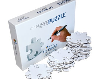 Blank Puzzle A1, 117 Pcs, 23x33 in, Wedding Guest Book Puzzle, 117 White Numbered Pieces (9x13), Piece Size 2.55x2.55 in, with Box