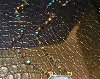 Multi Stone Rosary Style Necklace with Blue Druzy Stone
