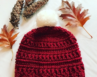 Crocheted Red Beanie with white Pom.