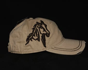 Light wheat hat with embroidered 3d Horse with embroidered back name personalization