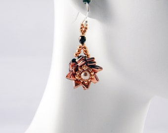 "READY TO SHIP Capri Gold Rose Gold Dragonscale and Swarovski Pearl Beadweaving Earrings ""Dragonflower"""