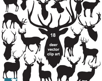 Deer Silhouette Clip Art, deer vector silhouettes, hipster clip art, invitations, design, photograph, EPS - INSTANT DOWNLOAD