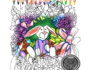Adult coloring Book, coloring pages, Easter, egg, bunny