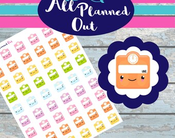Weight Tracker, Scale, Planner Stickers, Erin Condren, Happy, PDF, Silhouette Cut Files, Fitness, Workout, Health, Daily, Tracker, APOS