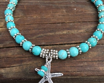 Ankle Bracelet, Beach Anklet, Starfish Anklet, Ankle Jewelry, Beach Jewelry, Beaded Anklet, Turquoise Anklet, Nautical Jewelry, Anklet