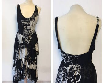ICEBERG - 80/90s Iceberg Long Dress - Backless Black Dress - Size M