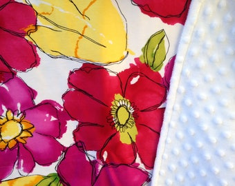 Floral minky blanket / girl bright modern baby cuddle blankie / crib or stroller blanket - ready to ship