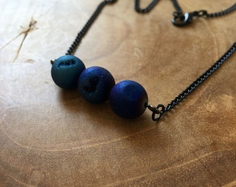 Blueberries - necklace with 3 beautiful round metallic blue druzy agate beads. Gemstones, rocks, minerals, boho, gypsy, minimal, blue