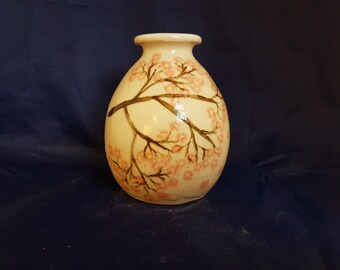 Small japanese style vase hand painted with sakura branches, unique hand made ceramic