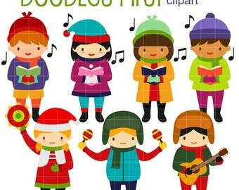 Christmas Carol Kids Digital Clip Art for Scrapbooking Card Making Cupcake Toppers Paper Crafts