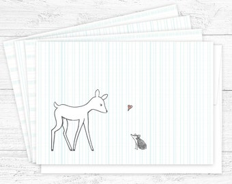 Woodland Notecard Set! Cute Gift for Her — Set of 8 Illustrated Notecards —Hand-drawn Deer Notecards — Blank a2 Cards with Envelopes.