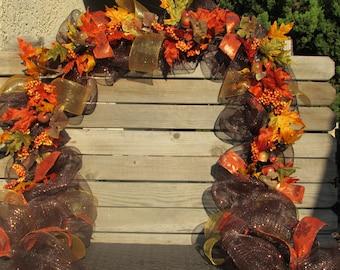 10' Fall Garland Fall Swag Fall Door Decor Fall Leaf Garland Fall Deco Mesh Garland Fall Acorn Garland Fall Swag Fall Deco Mesh Swag