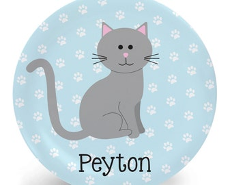 Cat Plate - Personalized Plate - Child's Bowl - Cat Melamine Bowl or Plate Custom Personalized with Childs Name