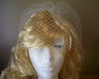 Birdcage Veil in White Ivory or Black Short Wedding Veil with Top Comb 9 inch Netting Vintage Inspired Blusher