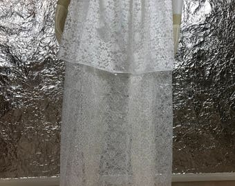 Vintage 1970's Sheer White Layered Lace Under Skirt  M