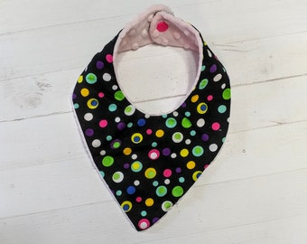 Bright polka dot black Bandanna baby bib for girls with soft pink mink fabric, Cotton and Mink baby bibs