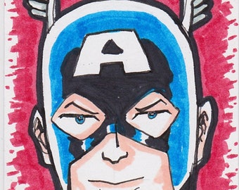 """Captain America Avengers ACEO trading card 2 1/2"""" x 3 1/2"""""""