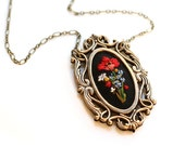 Poppy and Forget me nots- hand embroidered necklace, black, floral, wildflowers, flowers, red, blue, yellow