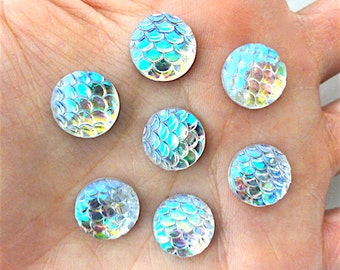 Small Iridescent Clear AB Round Mermaid Fish Scale Resin Flatback Cabochon - 12mm - Decoden - DIY - Scrapbooking - Nautical
