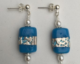 Hand Crafted Blue, silver and Pearl Beaded Earrings.