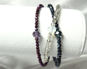 Purple, Blue and Silver Crystal Bracelet