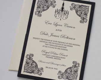 Vintage Wedding Invitation - Elegant Wedding Invitation - Rustic Wedding Invitation - Romantic Wedding - Ivory Black Wedding - Eva Sample