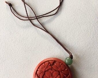 Carved Chinese Red Cinnabar Pendant