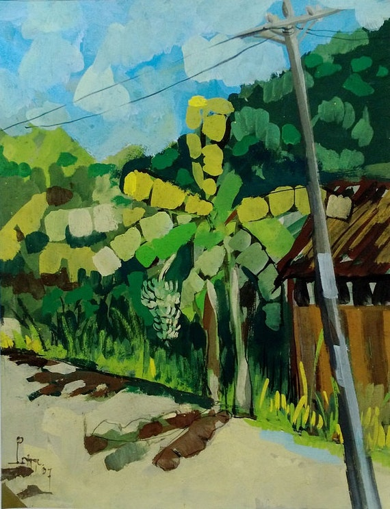 """BANANA TREE 16X20"""" gouache on paper, live painting, Mekong Delta (Cần Thơ Province), original by Nguyen Ly Phuong Ngoc"""