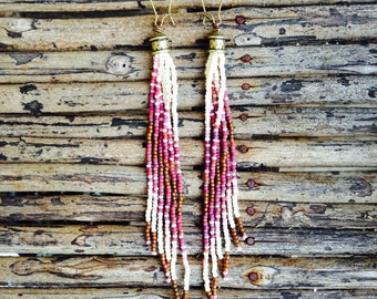 Amethyste Colored Earrings, Long Beaded Earrings, Beaded Jewelry, Seed Bead Earrings