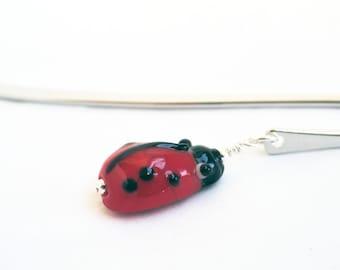 Ladybug bookmark - ladybird bookmark - lampwork glass bookmark - red bookmark - insect bookmark - animal bookmark - red bookmark
