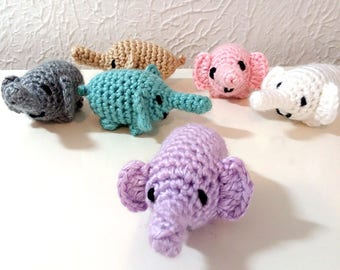 Tiny Elephants, Miniature Crochet Elephants, Micro Amigurumi Animals, Pocket Pet, Good Luck Elephant